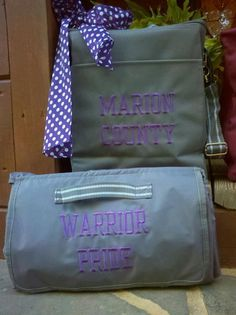 Thirty One Spirit Collection: Picnic Thermal and About Town Blanket in Spirit Grey with Purple Polka Dot Scarf