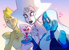 Excited to see the diamonds again! And I'm glad they were the ones to love Spinel again, she deserves it 😭 Steven Universe Diamond, Diamante Blanco Steven Universe, Perla Steven Universe, Steven Universe Movie, Universe Art, Steven Universe Wallpaper, Steven Universe Personajes, Cn Cartoon Network, Fanart