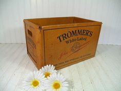 Vintage Large Waxed CardBoard Trommer's White Label Beer Crate - Heavy Duty Rustic Industrial Advertising Box - Mid Century Breweriana Case $63.00 by DivineOrders