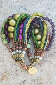 Purple, Blue and Copper Multi-Strand Beaded Cuff Bracelet