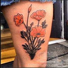 ... traditional black and grey realism freehand california poppy poppies