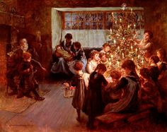 The Christmas Tree, 1911 (oil on canvas) by Albert Chevallier Tayler Fine Art Christmas Happy Holidays card. Personalize any greeting card for no additional cost! Christmas History, Christmas Past, A Christmas Story, Christmas Pictures, English Christmas, Country Christmas, Christmas Tree Canvas, Christmas Paintings, Victorian Christmas