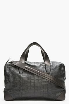 Alexander Wang Black Croc-embossed Leather Wallie Duffle Bag for men | SSENSE