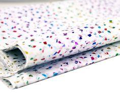 White with  blue fleck metallic foil print tissue paper 5 10 20 sheet packs