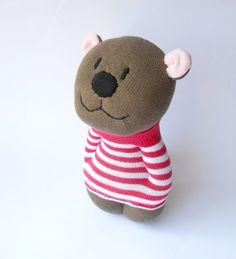 stuffed teddy bear, sock animal toy bear,