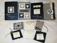"""Valentine Romantic Handmade up-cycled dark blue by NIKscrapbooking. Beautifull handmade set of cards and envelopes in dark and gray colors with using up-cycled old book """"Emma"""" by Jane Austen. Wonderfull !!! Ready to Ship."""