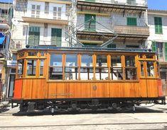 Port de Soller, Mallorca, Spain:    The tramway is a popular landmark,   famous for a nostalgic flair.   #majorca, #tram, #old, #nostalgic, #Spain, #Catalonia, #balearic, #mediterranean, #rail, #retro, #street, #train
