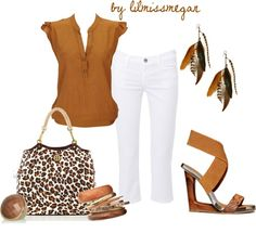 """""""play up your tan"""" by lilmissmegan on Polyvore....love the top n purse. I'd go reverse, tan pants and white blouse, with different shoes."""