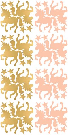 Pöm Le Bonhomme set 16 muurstickers Eénhoorn goud/rosé
