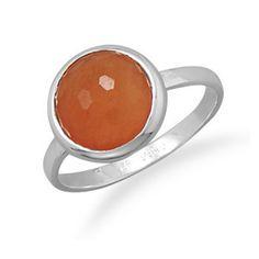 Freeform Faceted Orange Aventurine Stackable Ring | SilverStones