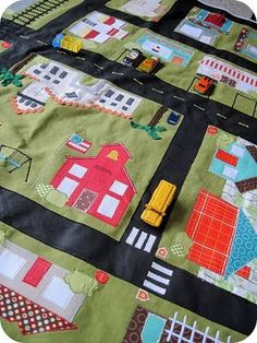 Seriously the COOLEST homemade, personalized car playmat EVER. Amazing!