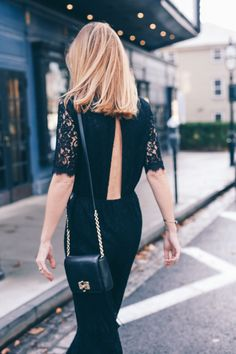 Jess of Prosecco and Plaid is #SoDVF in the DVF Kendra lace open back jumpsuit and the 440 Gallery Bellini fringe leather crossbody bag. Shop the Kendra jumpsuit: http://on.dvf.com/1LOZA3F Shop the 440 Gallery Bellini crossbody: http://on.dvf.com/1YIEY6p