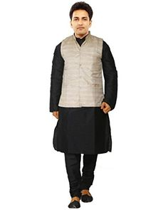 dc43f6e50 JBN Creation Men's Black Cotton Silk Kurta Pyjama With Matka Silk Modi  Jacket (Size: