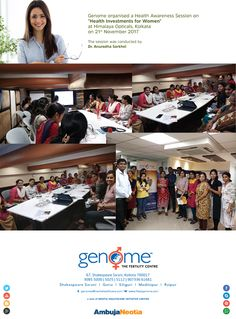 "Genome conducted a ""*Health Awareness Session*"" on '*Health Investments for Women*' at Himalaya Opticals on 21st Nov. The session was conducted by Dr. Anuradha Sarkhel - consultant in Reproductive medicine & surgery at Genome The Fertility Centre, #Kolkata. Here are glimpses from the event."