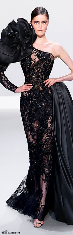 Miss Millionairess / karen cox. Ralph & Russo Black Evening Gown Spring/Summer 2014 /