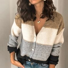 Product number brand name Echicnow season autumn,winter Material Polyester Pattern type Color matching Sleeve Length Long sleeve Top collar V collar Wearing occasion daily Size S M L XL Length (inch) Bust (inch) Length (cm) 65 66 67 68 69 7