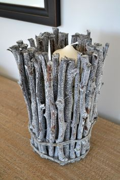 Grape Wood Twig Candle Holder, Small