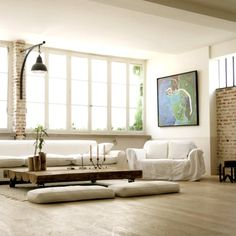 Duplex Loft, Paris - High ceilings, big windows, log table, wood floors w/ brick walls... perfect