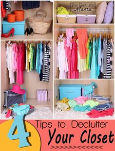 Need to declutter your closet? I know I do! My closet is packed to the brim with clothes, shoes, purses & you name it. Here are 4 tips that work! *I love the BONUS TIP!*