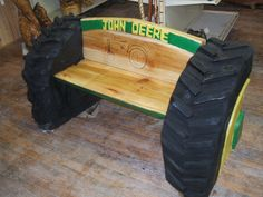 chainsaw carved benches | chainsaw carved John Deere bench