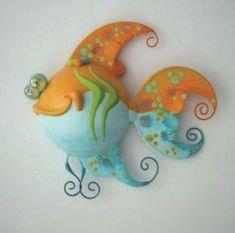 Paper Mache Projects, Paper Mache Clay, Paper Mache Crafts, Paper Clay, Polymer Clay Crafts, Clay Projects, Paper Art, Fish Wall Art, Fish Art