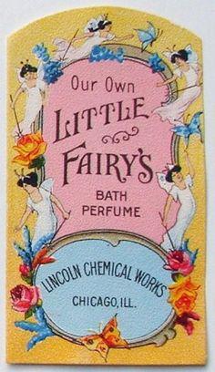 vintage perfume label images | LITTLE FAIRIES Vintage Bath Perfume Label (PER247)