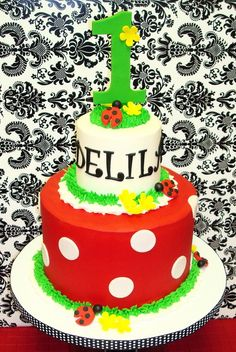 Gorgeous ladybug 1st birthday cake for a sweet girl birthday! See more party ideas at CatchMyParty.com.