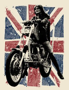 Silkscreen poster of British chopper