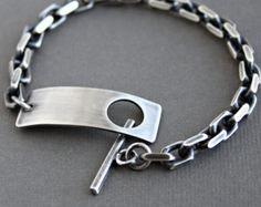 435a5b33bfec Artículos similares a Pulsera de cadena de plata Sterling para hombre