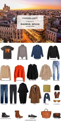 Packing light: 10 days in Madrid, Spain in Winter. What to pack. Fall Packing List, Winter Packing, Europe Packing, Packing Tips, Madrid, Travel Wardrobe, Capsule Wardrobe, Spain Winter, Outfits For Spain