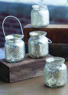 Mercury Glass Votive with handle  baby food jars, wire, mirror spray paint.