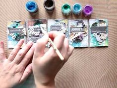 """Elena Morgun with a Step-by-step tutorial creating ATC """"Enjoy everyday"""" - YouTube 6:40; Jul 15, 2014  NTS: reminder of how to incorporate some of my left over words"""
