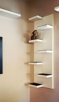 Great idea! use two Lack wall shelves from ikea and stagger them for wall…