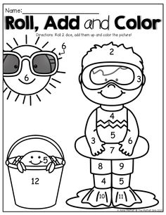 Roll 2 dice, add them up and color the picture!  What a FUN and effective SUMMER REVIEW!