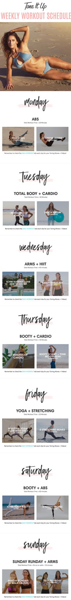 Tone It Up Weekly Workout Schedule! Summer Workout Schedule, Workout Challenge, Fitness Tips, Fitness Motivation, Health Fitness, Sweat It Out, Belly Fat Workout, Toning Workouts, Tone It Up