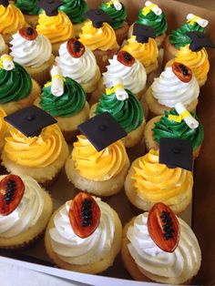 Yellow, Green and White Graduation Cupcakes