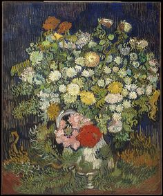 Bouquet of Flowers in a Vase Artist: Vincent van Gogh (Dutch, Zundert Auvers-sur-Oise) Date: 1890 Medium: Oil on canvas Dimensions: 25 x 21 in. Art Van, Van Gogh Art, Vincent Van Gogh, Flores Van Gogh, Flower Vases, Flower Art, Floral Flowers, Bouquet Flowers, Wild Flowers