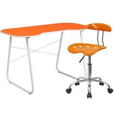 Flash Furniture NAN-14LF-GG Orange Computer Desk and Tractor Chair