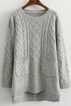 Rainy Day Pocket Knit Sweater In Light Gray. Free 3-7 days expedited shipping to U.S. Free first class word wide shipping. Customer service: help@moooh.net