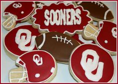 """Big huge shout out to SaraDee!!! Her """"sweet treats"""" are amazing and she is in the metro area. I promise they taste as amazing as they look -shar Boomer Sooner OU sugar cookies made by Saradee's Sweet Treats"""