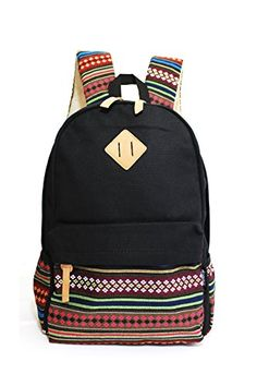 IBSound® Casual Style Lightweight Canvas Laptop Backpack - Fashion Cute Travel School College Shoulder Bag / Bookbags / Daypack - for Teenage Girls, Students and Women - with Laptop Compartment (Black) - http://coolbackpacks.hzhtlawyer.com/ibsound-casual-style-lightweight-canvas-laptop-backpack-fashion-cute-travel-school-college-shoulder-bag-bookbags-daypack-for-teenage-girls-students-and-women-with-laptop-compartment/