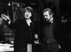 "David Lynch and Anthony Hopkins on the set of ""The Elephant Man"", 1980"