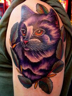 Color full violete cat tattoo
