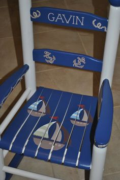 Custom Hand Painted Kids Rocking Chair - Ahoy Mate Nautical Design on Etsy, $145.00