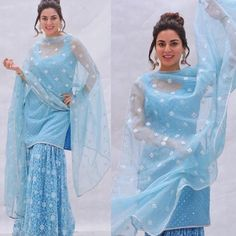 Buy Blue Color Sharara Suit by Akanksha Singh at Fresh Look Fashion Party Wear Indian Dresses, Designer Party Wear Dresses, Dress Indian Style, Pakistani Bridal Dresses, Pakistani Dress Design, Indian Designer Outfits, Indian Wedding Outfits, Pakistani Outfits, Indian Outfits