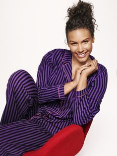 8d5137f391f Striped 2 Piece PJ Set. Button-down top is detailed with long sleeves