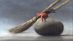 Judy mineur, peintre réaliste, la peinture antique de pierre de curling et balai intitulé The Game Roaring (Curling)