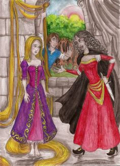 """""""Rapunzel"""" by the Brothers Grimm, from Grimm's Fairy Tales Disney's Tangled colored pencils and watercolor paint This is the story of how I died Rapunzel And Flynn, Disney Rapunzel, Princess Rapunzel, Disney Princesses, Brothers Grimm, Grimm Fairy Tales, Flynn Rider, Fairytale Art, Disney Characters"""