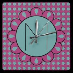 Cute Floral Motif Monogram Clock by hhtrendyhome