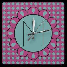 Cute Floral Motif Monogram Clock by hhtrendyhome